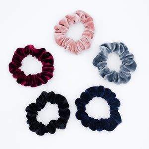 Setje van 5 velvet mini scrunchies