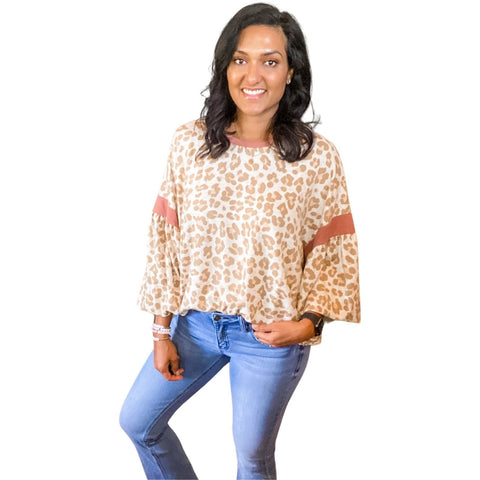Lovely Leopard Balloon Sleeve Top