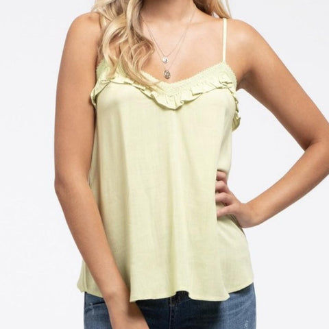 Lime, Lace and Ruffle tank