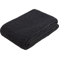 Folded black knitted throw/blanket made from environmentally friendly recycled plastic (PET) bottles.