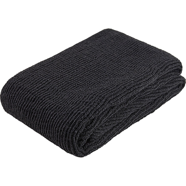 Folded black knitted throw made from environmentally friendly recycled plastic (PET) bottles.