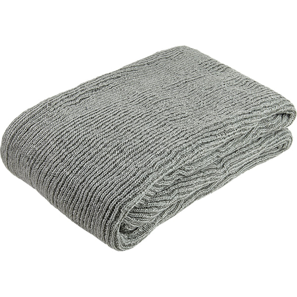 Folded grey knitted throw/blanket made from eco-friendly recycled plastic (PET) bottles.