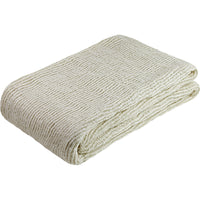 Folded cream knitted throw/blanket made from environmentally friendly recycled plastic (PET) bottles.