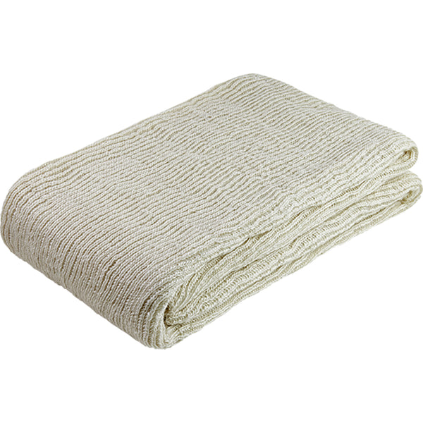 Folded cream knitted throw made from environmentally friendly recycled plastic (PET) bottles.
