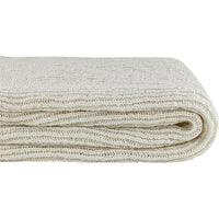 Side profile folded cream knitted throw made from eco friendly recycled plastic bottles.