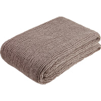 Folded mauve pink knitted throw made from environmentally friendly recycled plastic (PET) bottles.