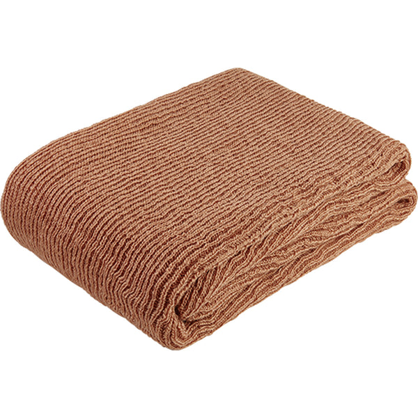 Folded terracotta red knitted throw-blanket made from environmentally friendly recycled plastic (PET) bottles.