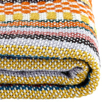 Close up showing weave of multi-coloured, eco-friendly recycled plastic bottle blanket.