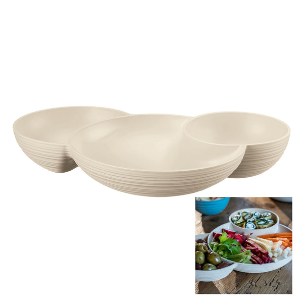 Conjoined 3 part dish, containing one large circular bowl and two smaller ones. In an off-white colourway, with ribbed external texture.  An additional thumbnail shows the bowl full of nibbles.