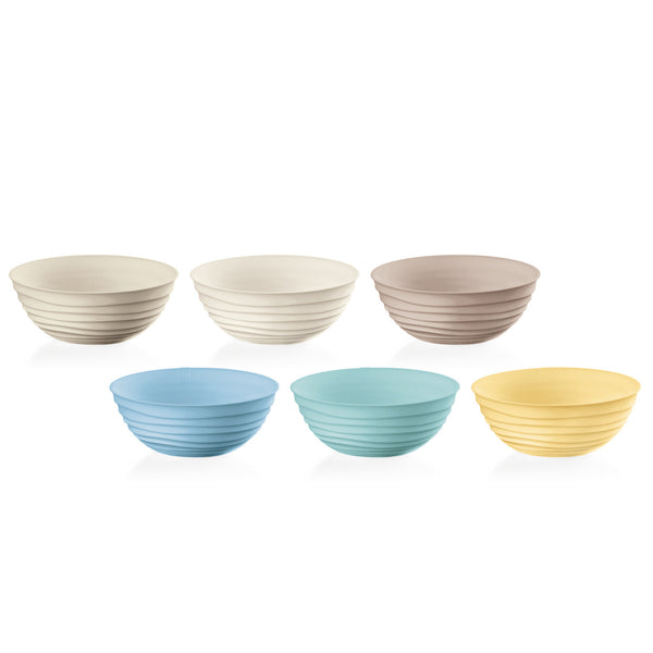 Six ribbed eco-friendly recycled plastic bowls.  There are six colours, including blue, green, yellow, cream, white and grey.  Made in Italy by Fratelli Guzzini.
