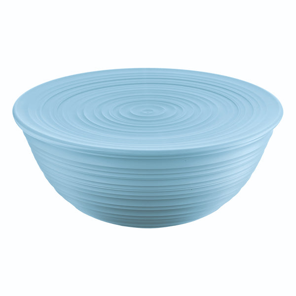 Large sky blue salad bowl with blue lid, by Guzzini.  It has a ribbed, organic texture, inspired by nature.