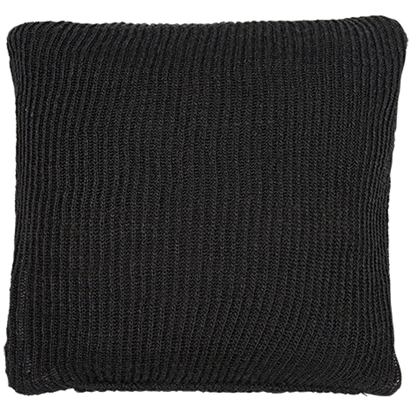 Birds eye view of black knitted 45 x 45cm cushion.    Made from environmentally friendly recycled plastic (PET) bottles.