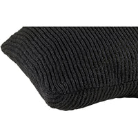 Profile view of black knitted 45 x 45cm cushion.    Made from eco-friendly recycled plastic bottles.