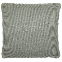 Birds eye view of grey knitted 45 x 45cm cushion.  Made from environmentally friendly recycled plastic (PET) bottles.