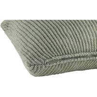 Profile view of grey knitted 45 x 45cm cushion.  Made from eco-friendly recycled plastic bottles.