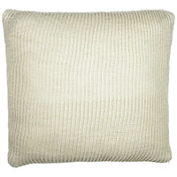 Birds eye view of cream knitted 45 x 45cm cushion.  Made from eco-friendly recycled plastic (PET) bottles.