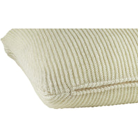 Profile view of cream knitted 45 x 45cm cushion.  Made from environmentally friendly recycled plastic bottles.