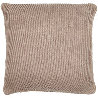 Birds eye view of mauve pink knitted 45 x 45cm cushion.  Made from eco-friendly recycled plastic (PET) bottles.