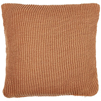 Birds eye view of terracotta red knitted 45 x 45cm cushion.  Made from environmentally friendly recycled plastic (PET) bottles.