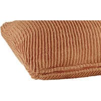 Profile view of terracotta red knitted 45 x 45cm cushion.  Made from eco-friendly recycled plastic bottles.