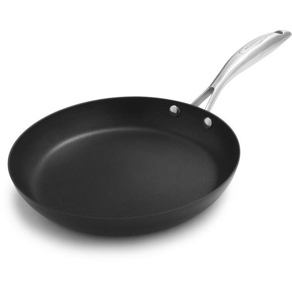 Scanpan Pro IQ 24cm environmentally friendly recycled aluminium frying pan, with stainless steel branded handle.