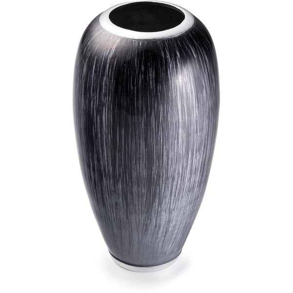 Eco friendly, contemporary, recycled aluminium brushed silver and black vase, similar in shape to the gherkin building in London, with the top chopped off.