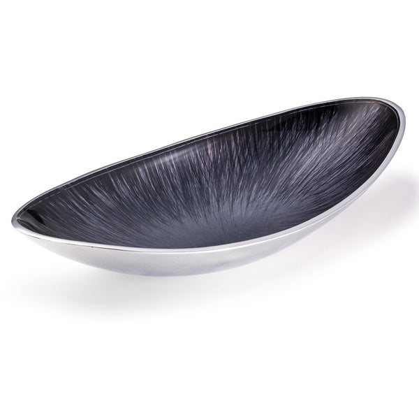 Eco friendly recycled metal (aluminium) oval serving bowl 35cm wide and 18cm deep.  It has a contemporary, silver exterior and brushed silver and black interior.