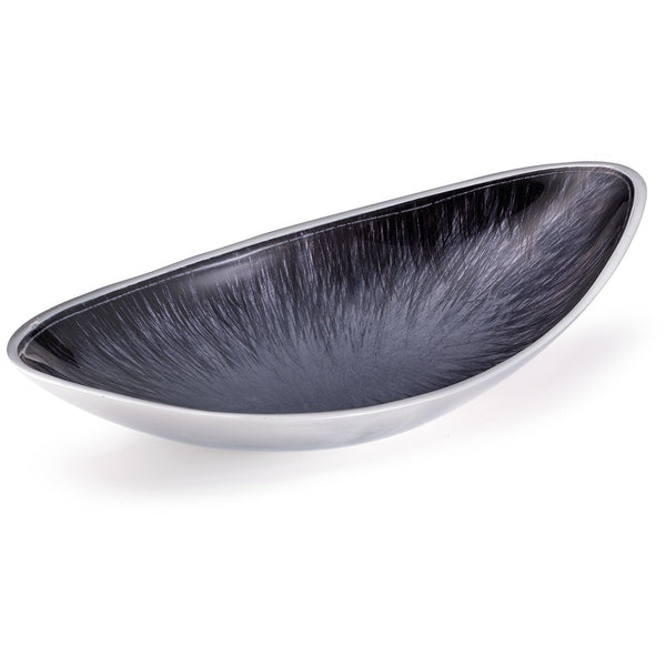Eco friendly recycled metal (aluminium) oval serving bowl 28cm wide and 13cm deep.  It has a contemporary, silver exterior and brushed silver and black interior.