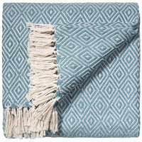 Folded sky blue throw/blanket with small white diamond geometric pattern and white fringe. Made from eco friendly recycled plastic bottles (PET).