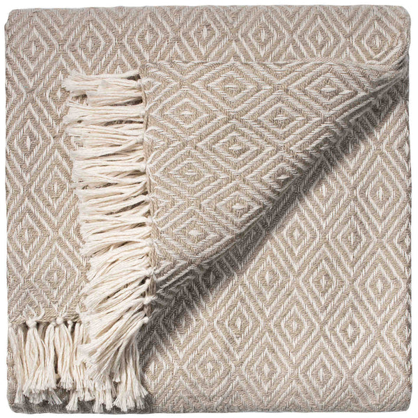 Folded stone grey throw with small white diamond geometric pattern and white fringe. The blanket is made from eco friendly recycled plastic bottles (PET).