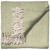Folded mint green throw with small white diamond geometric pattern and white fringe.  The blanket is made from environmentally friendly recycled plastic bottles (PET).