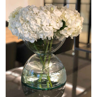 LSA-Eden Project, sustainable, contemporary recycled clear glass diabolo-shaped vase. Contains a large bunch of white flowers
