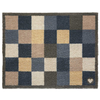Recycled Cotton doormat with large navy blue, beige and stone grey check pattern.  Non-slip rubber back.  Made in the UK.