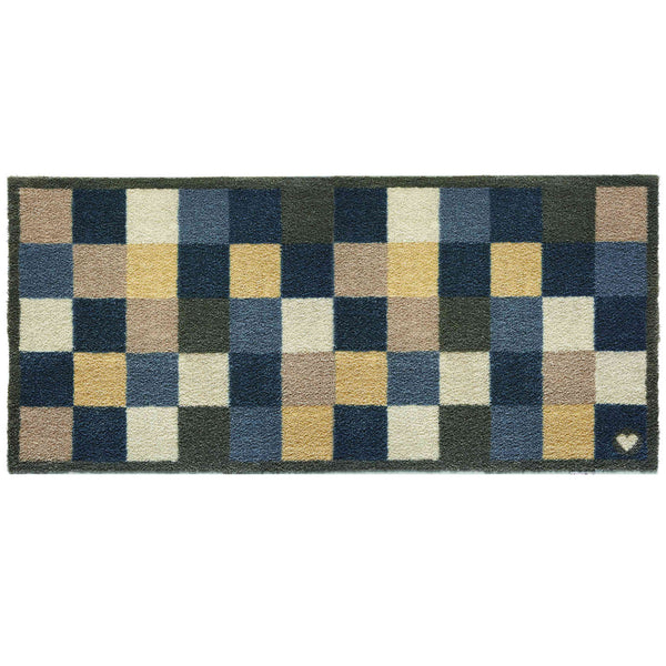 Recycled Cotton rug runner with large navy blue, beige and stone grey modern check pattern.