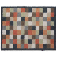 Multi-coloured recycled cotton doormat.  Check design with reds, terracotta, blues and browns.