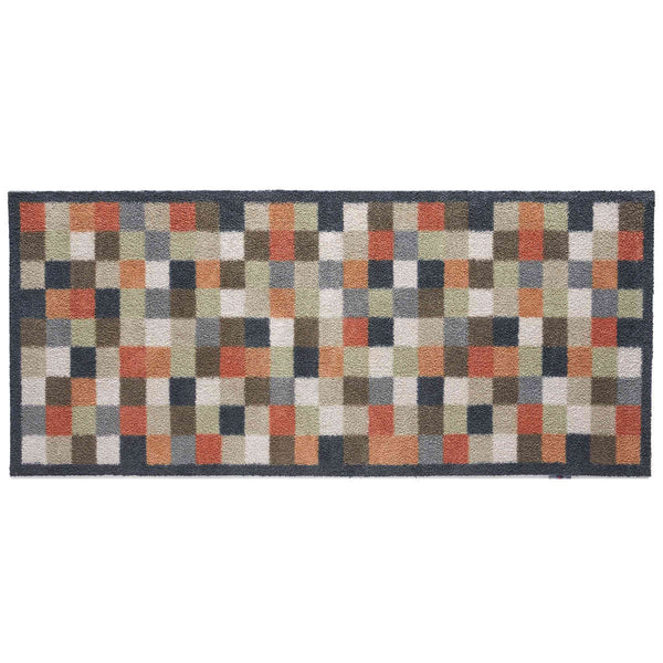 Runner rug mat, with multi-coloured check design and non-slip rubber back.  Made from eco-friendly recycled cotton clothing.
