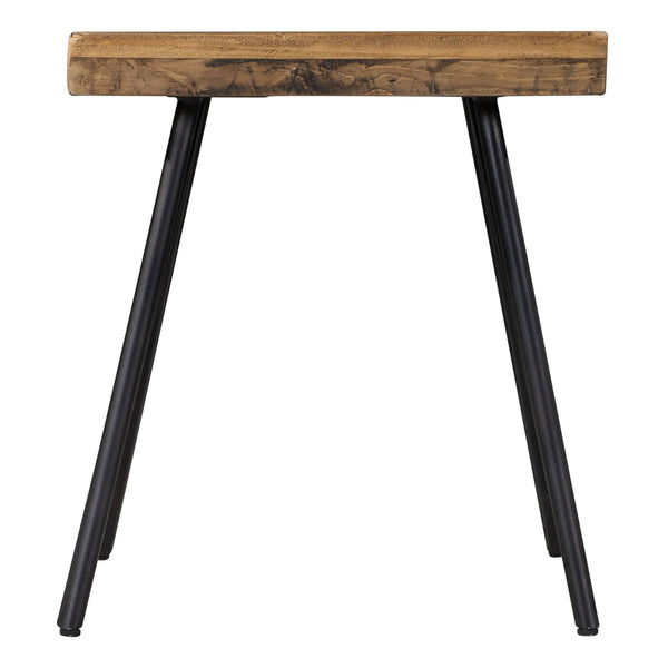 Square pine wood side table with black metal legs. Environmentally friendly, made from reclaimed pallets.