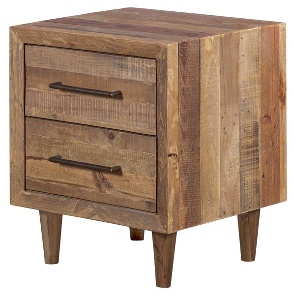 Recycled furniture - Oak-coloured wooden bedside table with two drawers and four legs. Eco friendly pine wood is from reclaimed pallets, containing nail holes and other minor imperfections.