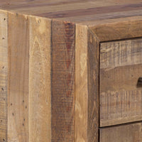 Close up of oak-coloured wooden bedside table, made from eco friendly reclaimed shipping pallets. Images showing nail holes and other minor imperfections.
