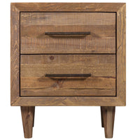 Oak-coloured wooden bedside table with two drawers and four legs. Eco friendly pine wood is from reclaimed pallets, containing nail holes and other minor imperfections.
