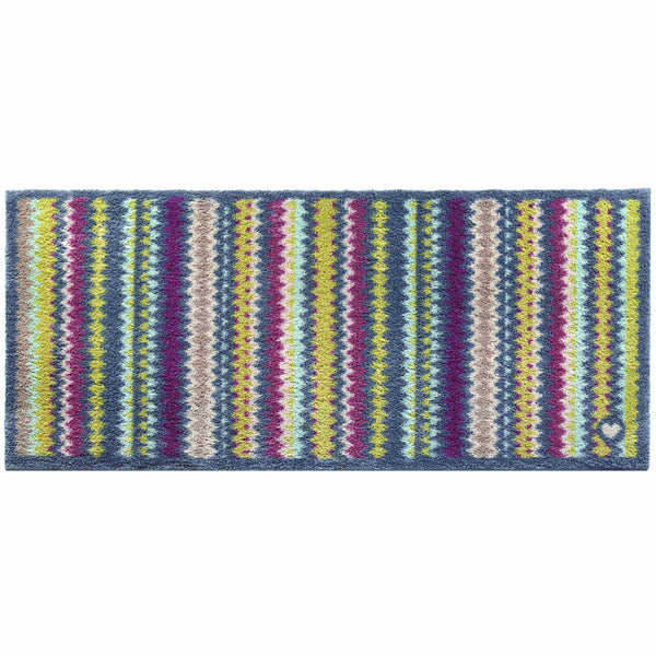 Recycled cotton rug runner with zig zag stripes. Multi coloured, including, grey, purple and lime green.  Non-slip rubber back.