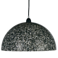 Dome shaped ceiling pendant lamp with black, white and grey pixels.  Recycled sustainable design.
