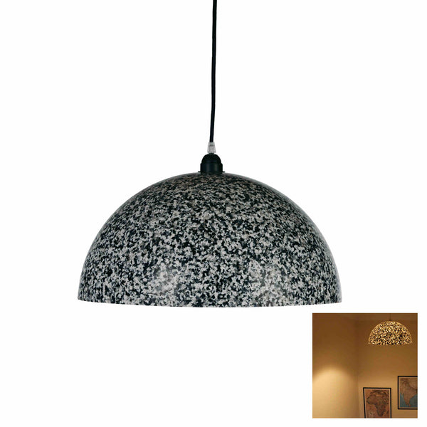 Dome shaped ecopixel recycled plastic ceiling pendant lamp, covered with black, grey and white pixels.  A smaller thumbnail shows the lamp lit, with light shining through, like stars in the sky.  Sustainably made lighting.