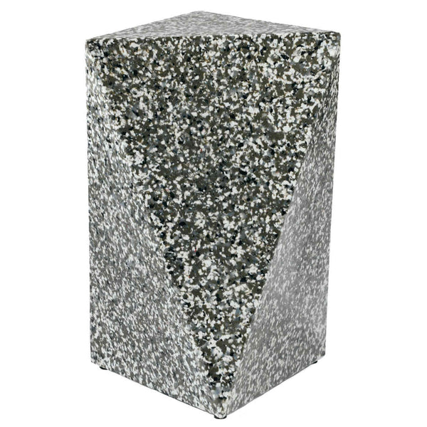 Asymmetrical triangular prism recycled plastic stool or side table. Dark grey, black and white pixels creating a terrazzo like effect. Furniture By Ecopixel.