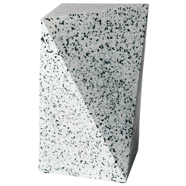 Asymmetrical triangular prism recycled plastic stool or table.  It has a white base colour, with black pixels, creating a terrazzo like effect.  Furniture by Ecopixel