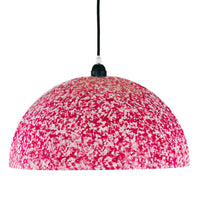 Dome shaped ceiling pendant lamp with white base colour and hot pink vivid pixels covering it.  Sustainably made by Ecopixel using recycled plastic.