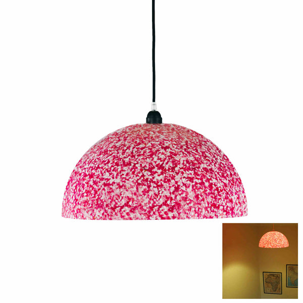 Dome shaped ecopixel ceiling pendant lamp with hot pink and white vivid pixels covering it.  A thumbnail shows the lamp lit, with light shining through.  Made with recycled plastic by sustainable brand, Ecopixel.