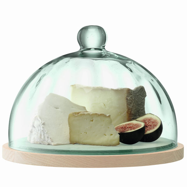 LSA International recycled glass Mia dome on an FSC certified oak board.  Contains a selection of three cheeses and figs.