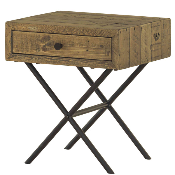Contemporary recycled furniture. wooden side table with drawer and X shaped black metal legs. Environmentally friendly pine wood is from reclaimed pallets, containing nail holes and other minor imperfections.