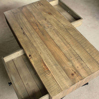 Reclaimed wood rectangular coffee table. The two drawers open from either side of the table, which is visible in the image. Eco friendly pine wood is from salvaged pallets, containing nail holes and other minor imperfections.